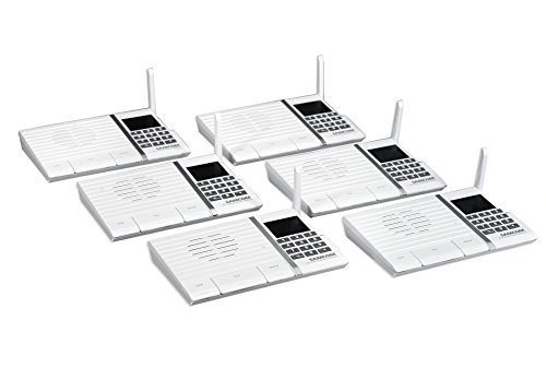 Samcom 20-Channel Digital FM Wireless Intercom System for Home and Office White Pack of 6