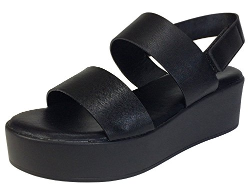 BAMBOO Women's Double Band Platform Footbed Sandal with Ankle Strap, Black PU, 7.5 B (M) US