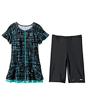 2252600389d Amazon | [nissen(ニッセン)] FILA フリル袖付プリント柄 チュニック 水着 2点セット 大きいサイズ レディース | タンキニ  通販