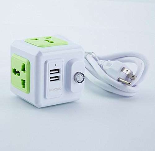 Price comparison product image Power Strip Build in Travel Adapter with 2 USB Ports - Power Socket with 2 Meter Extension Cable. Cube Design Charging Station