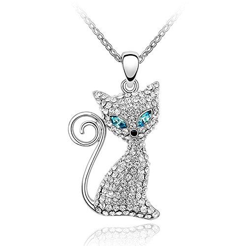 Swarovski Collars Cat (BONFASH Womens Girls Necklace Sterling Silver Cat Pendant Necklace for Girls Women Made with Swarovski Element Crystal)