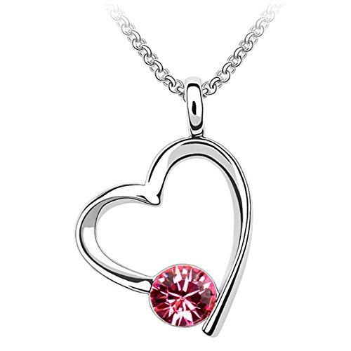 QUADIVA G! Damen Halskette Herzkette (Farbe: weißgold/rose) verziert mit einem funkelnden Kristall von Swarovski®