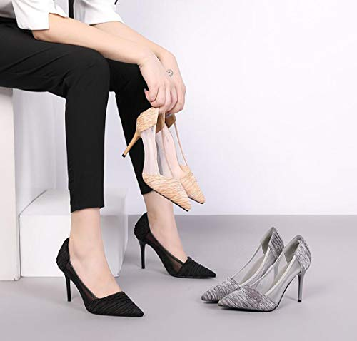 De DANDANJIE Tacón Zapatos De Zapatos Alto De Tacón Otoño De Gray Encaje Malla De wwga4qx0