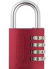 ABUS Cijferslot 145/40 rood - hangslot van massief aluminium - met individueel instelbare cijfercode - 48813 - niveau 4