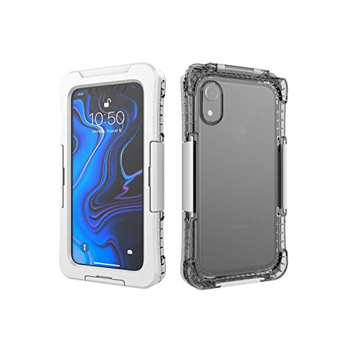 Gorilla Gadgets Waterproof Heavy Duty Case Compatible with iPhone XR, 3 Latches with Built-in Silicone Membrane Screen, Full-Body Shock Absorption Dustproof Case - White