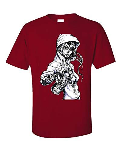 Peaceful Spirits - Graffiti Tag Skeleton Ghetto Girl - Unisex T-Shirt Red
