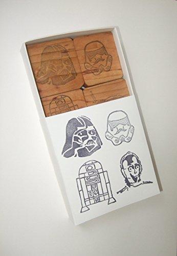 (Star Wars 1 - Darth Vader, Stormtrooper, C-3PO and R2-D2 - Hand carved rubber stamp set)