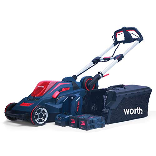 Worth Garden 19 in. 84-Volt Lithium-ion Battery Brush-Less Motor Walk-Behind Self-Propelled Lawn Mower Set Includes Two 2.5 Ah Batteries and a Charger ()