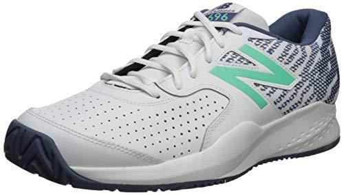 New Balance Men's 696v3 Hard Court Tennis Shoe, White/Emerald, 7.5 D US