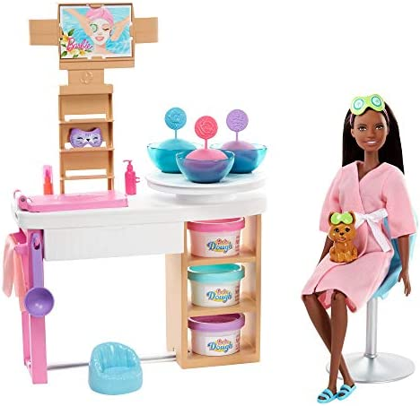 Barbie Face Mask Spa Day PlaysetBrunette Barbie Doll Puppy 3 Tubs of Barbie Dough and 10+ Accessories to Create and Remove Face Blemishes on Doll and Puppy Gift for Kids 3 to 7 Years Old
