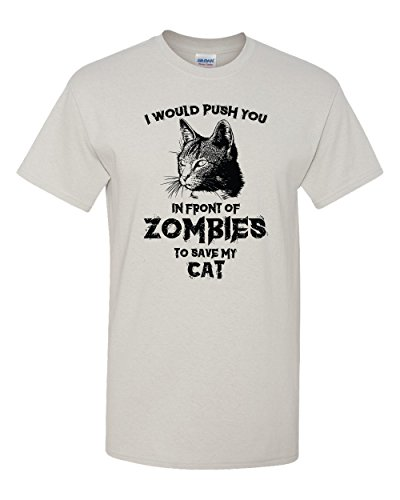 Zombie Cat Funny Halloween Kitty Humor Dead Walker Kitten Animal Graphic Pun Tee Adult Men's T-Shirt (Large) ()