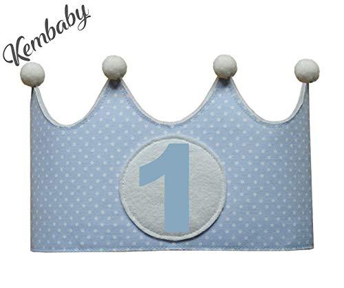 Corona primer cumpleaños 1 año para niños lunares azul ...