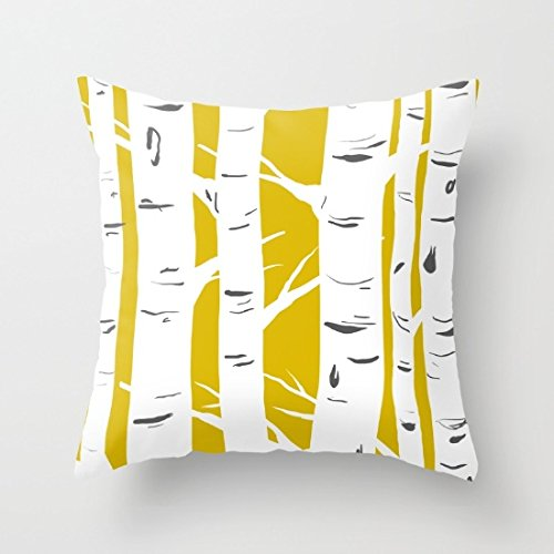 Poppylife Mustard Birches Throw Pillowcase Cushion Cover 20