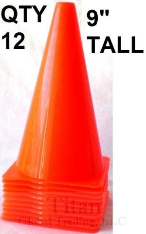 12 New 9'' Tall Cones ~ Soccer Football Traffic Safety by Bluedot Trading