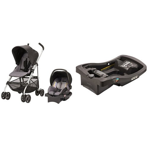 (Evenflo Round Trip Travel System, Glenbarr Grey with LiteMax Infant Car Seat Base, Black)