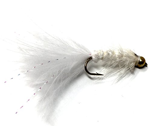 Wooly Bugger Fly Fishing Flies for Trout and Other Freshwater Fish - One Dozen Wet Flies in Various Patterns/Colors (8, White)