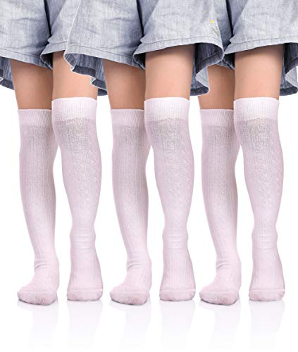 DOSONI Girls School Uniform Classic Cable Cotton Over Knee-high Socks for Big Girls 3-12 Year old (3 Pack White/M 6-8 Year Old)