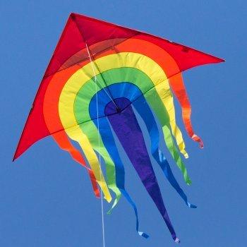 CIM Grande aquilone - SUPER DRACHEN Rainbow Delta XL - Aquilone monofilo per bambini a partire da 6 anni - 150 x 166 cm - comprende corda per aquilone da 80 m e coda a strisce Colours in Motion