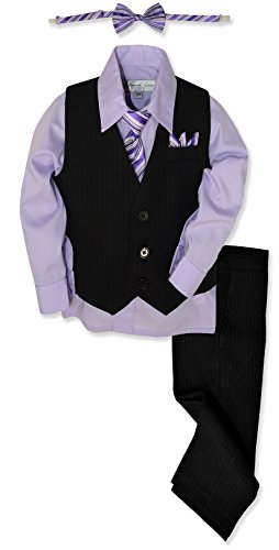 Johnnie Lene JL40 Pinstripe Boys Formal Dresswear Vest Set (5, Black/Lilac)