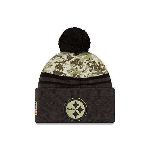 New Era Men's NFL Pittsburgh Steelers 16 Salute to Service Knit Hat Camo Size One Size