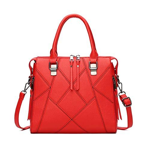 Femmes Red Rose Main Capacité À Apparentes Igspfbjn Litchi Coutures color Pour Et Sac Pink Surpiqûres Grande Avec wBaIwqTO