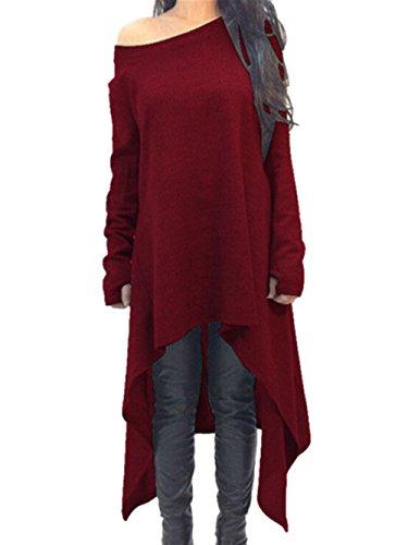 Xuan2Xuan3 Womens Long Sleeve Oversized Top Tunic Shirt Loose Casual Dress