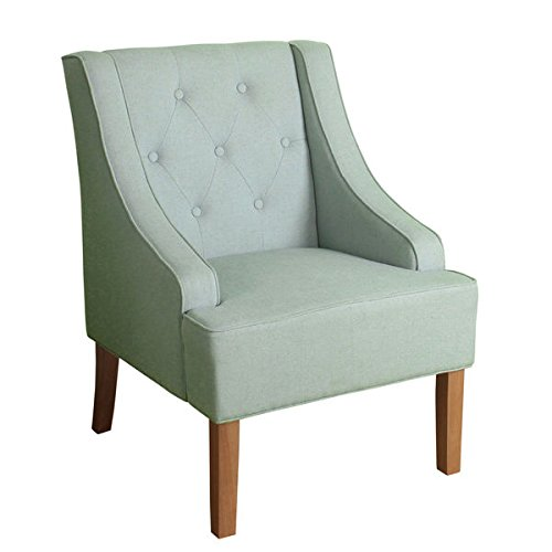 HomePop Kate Tufted Swoop Arm Accent Chair Spa Blue Ballard White Headboard