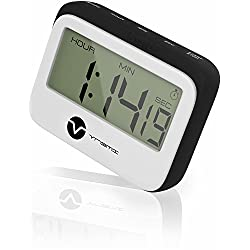 Vremi Digital Kitchen Timer - Magnetic Clock Loud Alarm Large Hour Minute Seconds Display - Cute Retro Shape Stopwatch Countdown Timer Magnet for Cooking and Baking - AAA Battery Included - Black