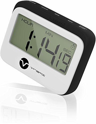 Vremi Digital Kitchen Timer - Magnetic Clock Loud Alarm Large Hour Minute Seconds Display - Cute Retro Shape Stopwatch Countdown Timer Magnet for Cooking and Baking - AAA Battery Included - Black ()
