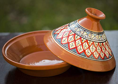 Large Bohemian Red Handmade, Hand-painted Serving Tagine ()