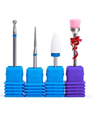 Cuticle Clean Nail Drill Bits set with Medium Ceramic Nail Bits for Nail Drill Gel False Nail Remove 4 pieces Drill Bits Kit with Gift Brush- NATPLUS