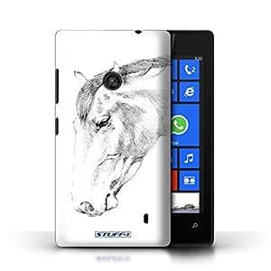 Kobalt® protector duro de nuevo caso / cubierta para el Nokia Lumia 520 | Caballo Diseño | Dibujo boceto colección