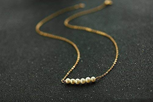 Keira Jewelry Real Pearl Bar Necklace, June birthstone Necklace, Tiny Freshwater Pearl Necklace,Real Fresh water Pearl Strand, Tiny Fresh Water Pearl Beads, Gold filled 14k
