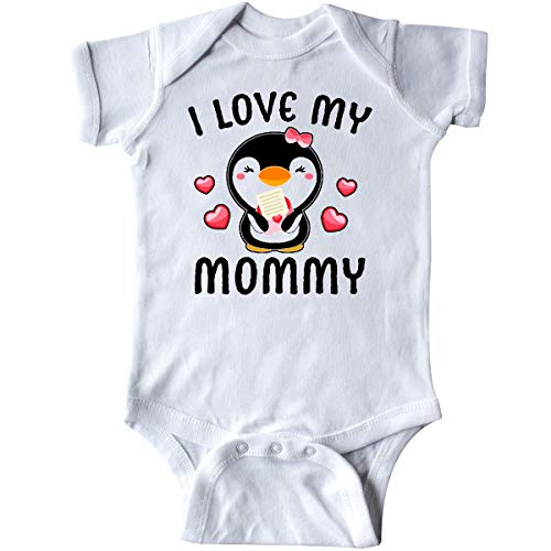 inktastic - I Love My Mommy with Cute Penguin Infant Creeper Newborn White 3430d
