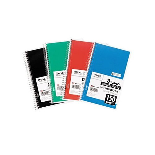 Mead Spiral Notebook 3-Subject, 150-Count, College Ruled, 9.5'' x 5.5'', COLOR WILL VARY, 12 Pack by MEAD