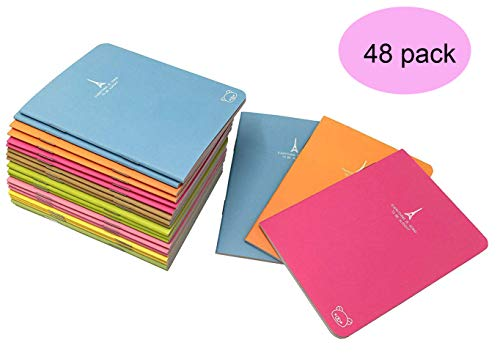 Pack of 48 Pocket Notebook Set (3.5'' x5 '') Candy Colors Portable Pocket Pal Super Mini Journals Portable Steno Note Books Mini - Pocket Pad Mini Note