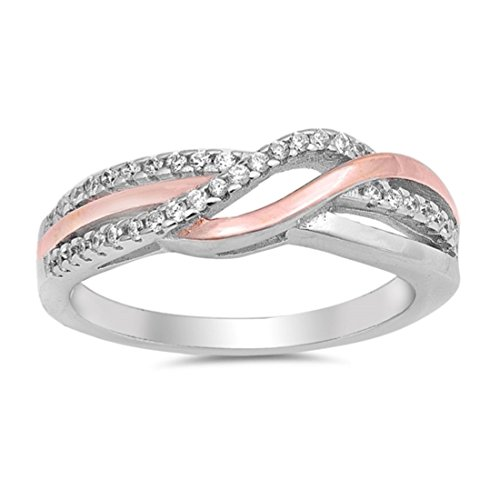 ne Crisscross Ring Round Pave Cubic Zirconia Rose Tone Plated 925 Sterling Silver ()