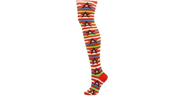 60b76abb99eaf Amazon.com: Yelete Womens Red & Yellow Multi Stripes and Stars Thigh-High  Socks - 1 Pair: Health & Personal Care