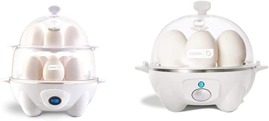 Dash Deluxe Rapid Egg Cooker, White & Rapid Egg Cooker: 6 Egg Capacity Electric Egg Cooker for Hard Boiled Eggs, Poached Eggs, Scrambled Eggs, or Omelets with Auto Shut Off Feature - White