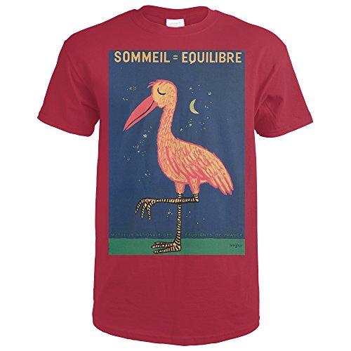 sommeil-equilibre-vintage-poster-artist-savignac-france-c-1956-cardinal-red-t-shirt-medium