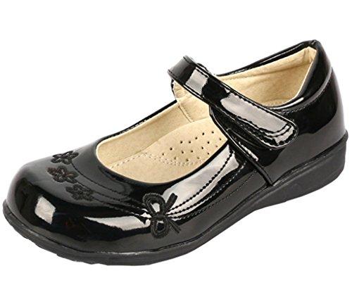 DADAWEN Girl's Strap School Uniform Dress Shoe Mary Jane Flat (Toddler/Little Kid/Big Kid) Black/Flower US Size 12.5 M Little (Straps Girls Dress)