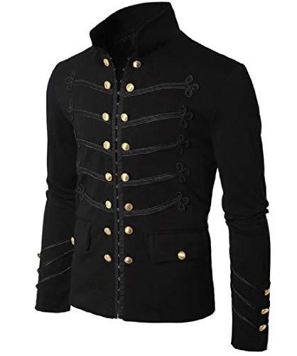 TTYLLMAO Men's Vintage Double Breasted Long Sleeve Mandarin Collar Punk Jacket Black