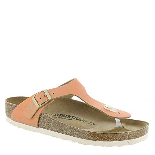 Birkenstock Women's Gizeh Limited Edition Leather Regular Fit Sandals, Washed Metallic Sea Copper, 39