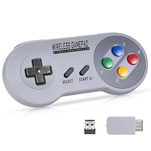 Wireless Controller for Super NES Classic/PC, Urvoix 2.4G Rechargeable Gamapad Joystick with Receiver for Nintendo SNES Classic/NES Classic, w/USB Adapter for Emulators on PC, [Colorized Cap] ()