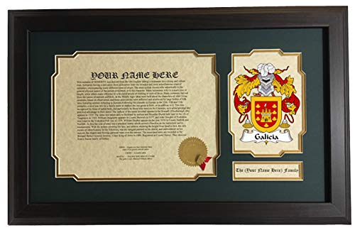 (Galicia - Coat of Arms and Last Name History, 14x22 Inches Matted and Framed)