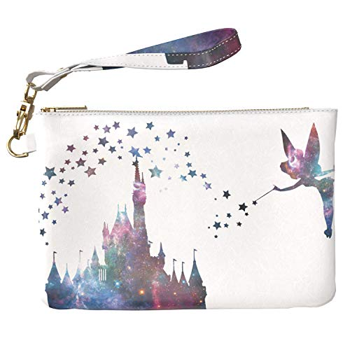 Lex Altern Makeup Bag 9.5 x 6 inch Cute Castle Disney Tinkerbell Galaxy Stars Purse Pouch Cosmetic Travel PU Leather Case Toiletry Women Zipper Bathroom Storage Wristband Girly Accessories Design
