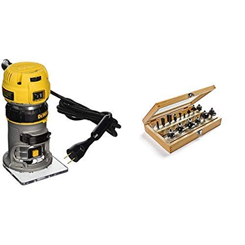 DEWALT DWP611 1.25 HP Max Torque Variable Speed Compact Router with Dual LEDs with 1901048 Marples Deluxe Router Bit Set (15 Piece)