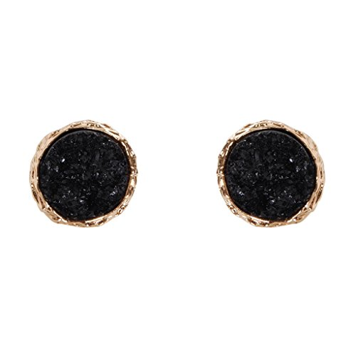Humble Chic Simulated Druzy Studs - Gold-tone Plated Simple Minimalist Small Dainty Stud Earrings for Women