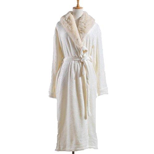 DMMSS Autunno e inverno pigiama più spessa collo accappatoi flanella camicia da notte delle donne , s , meters white