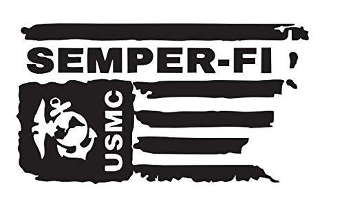 Flag Marine Decal Corps (Distressed USMC United States Marine Corps Flag SEMPER-FI Vinyl Decal Veteran Sticker Car Truck Bumper Window Laptop Army US (Black))